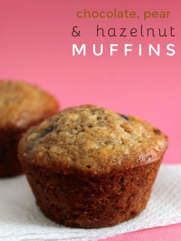 Chocolate, Pear, and Hazelnut Muffins
