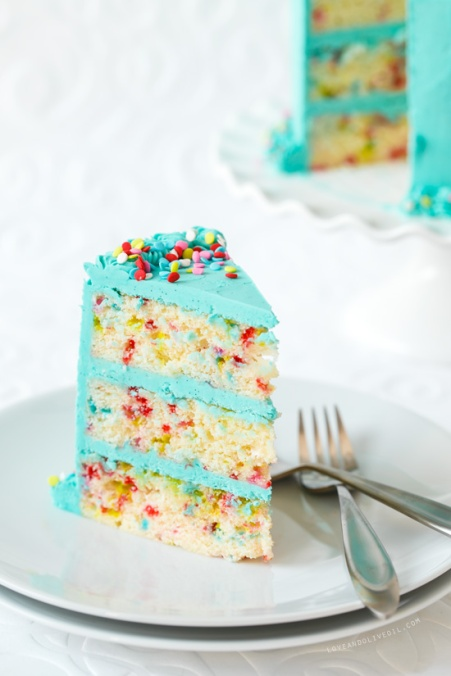 Love and Olive Oil Frosted Funfetti Layer Cake