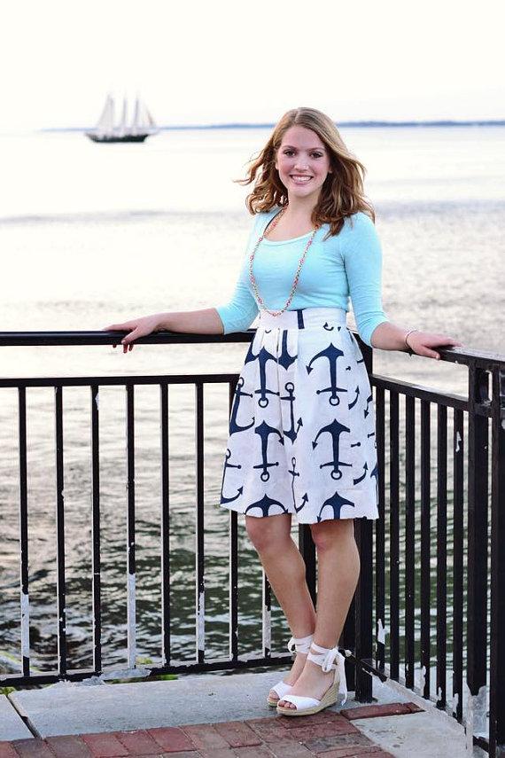 Navy Anchor Skirt